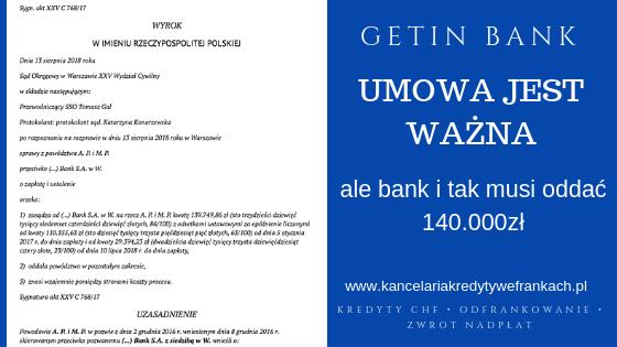 Umowa o kredyt CHF zawierająca klauzule indeksacyjne jest ważna ale Getin Bank i tak zwraca 140.000zł
