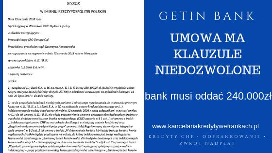 Umowa o kredyt CHF z Getin Bank z klauzulami niedozwolonymi. Bank musi oddać aż 240.000zł