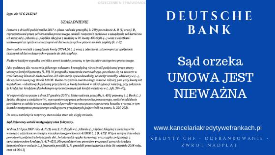 Umowa o kredyt denominowany nieważna – Sąd wydał rozstrzygnięcie przeciwko Deutsche Bank.