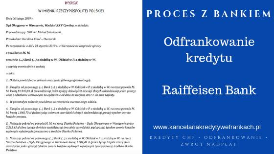 Na czym polega i jakie są skutki odfrankowania kredytu na przykładzie wygranej sprawy z Raiffeisen.