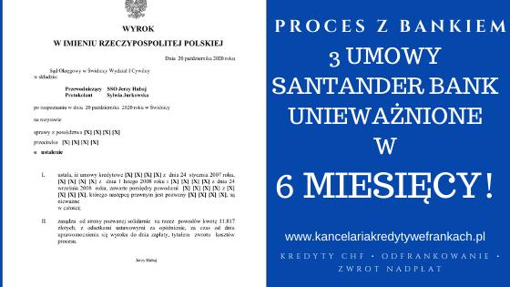 Kolejna wygrana naszej Kancelarii w ekspresowym tempie! Tym razem unieważnienie 3 kredytów frankowych Santander Bank Polska w 6 miesięcy