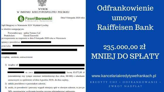Szybkie odfrankowienie umowy Raiffeisen Bank, SO WARSZAWA