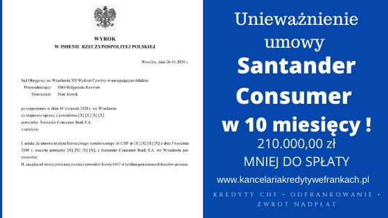 Unieważnienie kredytu frankowego Santander Consumer w 10 miesięcy. SO WROCŁAW