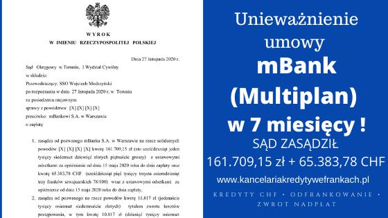 Unieważnienie kredytu we frankach mBank (Multiplan) w 7 miesięcy! SO TORUŃ