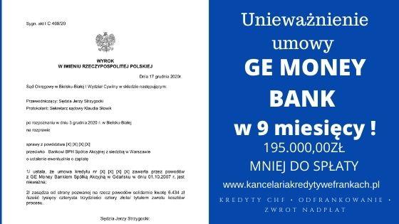 Unieważnienie kredytu GE Money Bank (obecnie BPH) w 9 MIESIĘCY! Nasza kolejna ekspresowa wygrana!