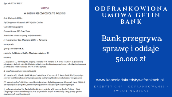 """Getin Bank – kolejna ,,odfrankowiona"""" umowa kredytowa. Bank zwraca 50.000zł"""