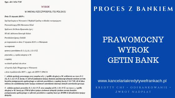 Prawomocne unieważnienie kredytu frankowego – umowy indeksowanej Getin Bank.
