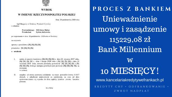 Unieważnienie umowy kredytu frankowego naszego Klienta w 10 miesięcy – Bank Millennium