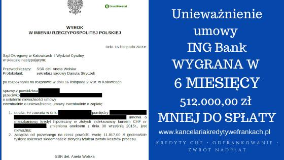 Unieważnienie umowy ING Bank Śląski w 6 MIESIĘCY! SO Katowice