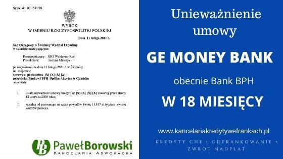 Unieważnienie kredytu frankowego GE MONEY BANK (obecnie BPH) w 18 miesięcy SO ŚWIDNICA