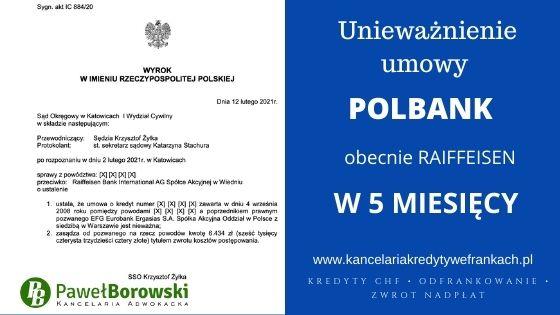 Unieważnienie kredytu frankowego POLBANK obecnie RAIFFEISEN w 5 MIESIĘCY!! SO KATOWICE