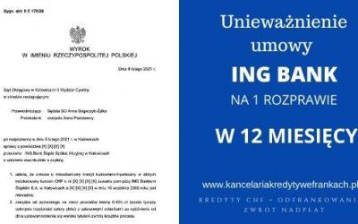Unieważnienie kredytu frankowego ING BANK (140.000 zł) – wygrywamy w 12 miesięcy. SO Katowice