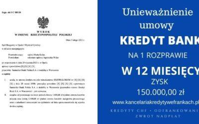 Unieważnienie kredytu we frankach Kredyt Bank umowa w 12 MIESIĘCY. Wygrywamy już na 1 rozprawie!