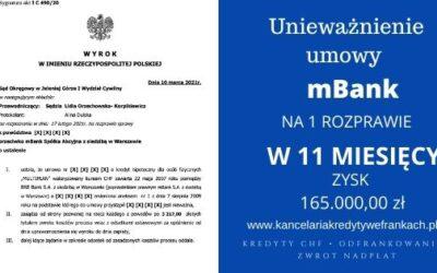"""Unieważnienie kredytu mBank """"Multiplan"""" w 11 miesięcy SO Jelenia Góra"""
