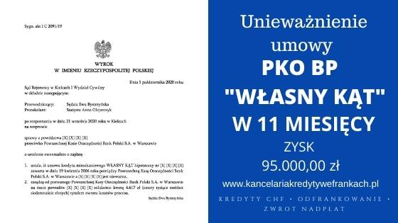 """Unieważnienie kredytu PKO BP """"Własny Kąt"""" w 11 miesięcy SR Kielce"""