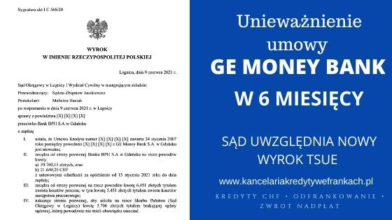 Wygrywamy z GE MONEY BANK w 6 miesięcy. Sąd potwierdza, że wyrok TSUE (29.04.21) jest korzystny dla Frankowiczów
