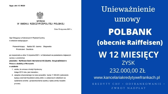 Unieważnienie kredytu we frankach Polbank (Raiffeisen) SO Katowice. Kolejny raz wygrywamy w 12 miesięcy