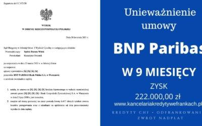 Unieważnienie kredytu frankowego BNP Paribas (BGŻ) w 9 miesięcy na 1 rozprawie. SO Jelenia Góra