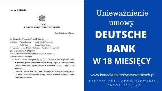 Unieważnienie kredytu Deutsche Bank na 1 rozprawie w 18 miesięcy. Wygrywamy w SO WARSZAWA