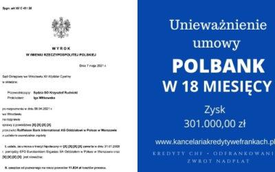 Unieważnienie umowy Polbank (Raiffeisen Bank) na 1 rozprawie. Wygrywamy w SO Wrocław