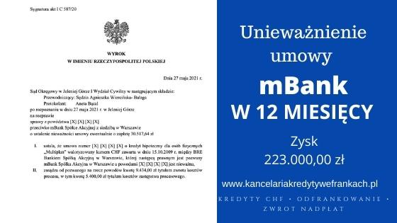 """Unieważnienie kredytu mBank """"Multiplan"""". Wygrywamy w 12 miesięcy na 1 rozprawie. SO Jelenia Góra"""