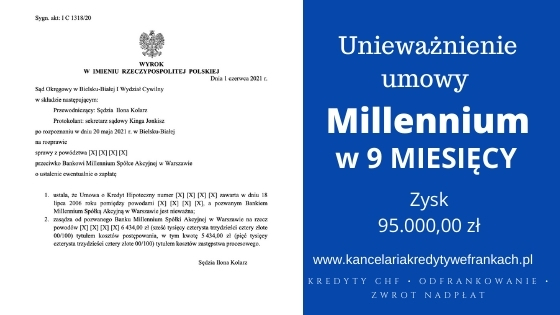 Unieważnienie kredytu Bank Millennium w 9 miesięcy. SO Bielsko Biała