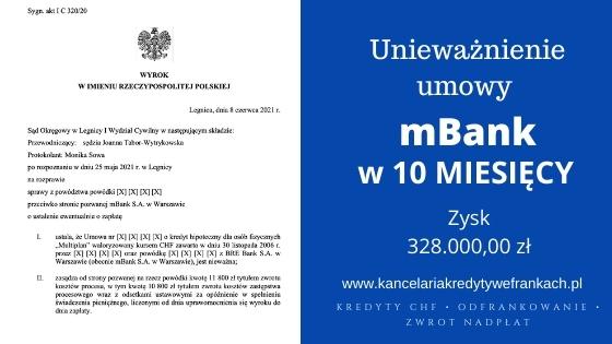 """Unieważnienie kredytu mBank """"Multiplan"""". Wygrywamy w 10 miesięcy. SO Legnica"""