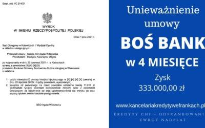 Unieważnienie kredytu BOŚ Bank. Wygrywamy w rekordowym czasie! 4 Miesiące! SO Katowice