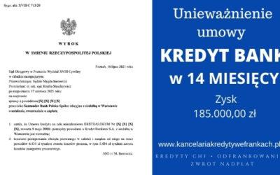 Unieważniamy kolejną umowę frankową EKSTRALOKUM Kredyt Bank w 14 miesięcy. SO POZNAŃ