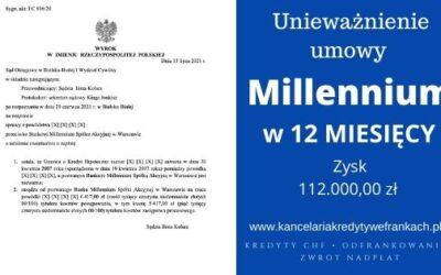 Unieważnienie kredytu Bank Millenium. Wygrywamy w 12 miesięcy. SO Bielsko-Biała