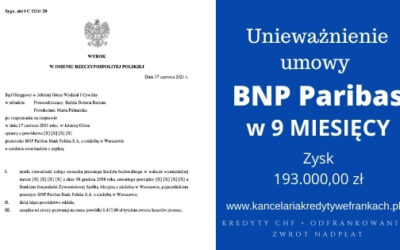 Unieważnienie kredytu BNP PARIBAS (BGŻ) W 9 MIESIĘCY. SO JELENIA GÓRA