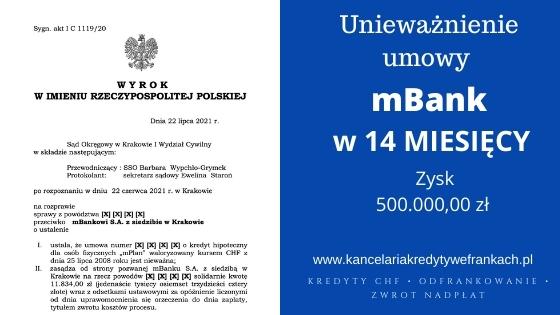 """Unieważnienie kredytu frankowego mBank """"mPlan"""".Wygrywamy na 1 rozprawie. SO KRAKÓW"""