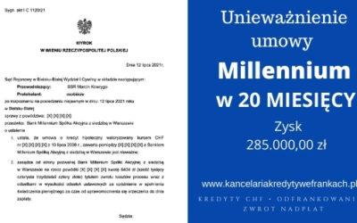 Unieważnienie kredytu we frankach bank Millennium. Po 1 rozprawie. SO BIELSKO-BIAŁA