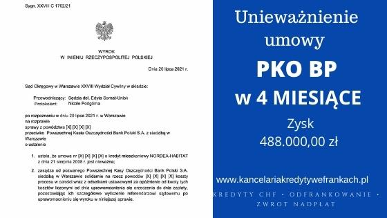 Unieważnienie kredytu PKO BP (Nordea-Habitat). EKSPRESOWO wygrywamy w Warszawie. W 4 MIESIĄCE!