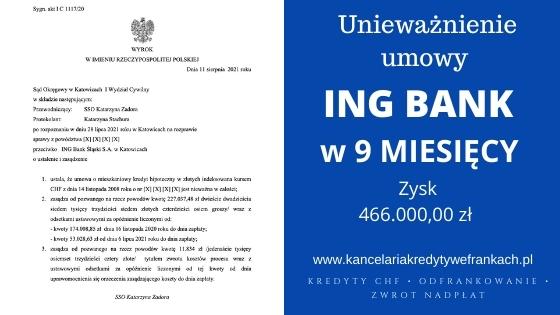 Unieważnienie kredytu we frankach ING BANK – Teoria 2 kondykcji. Wygrywamy w Katowicach na 1 rozprawie.