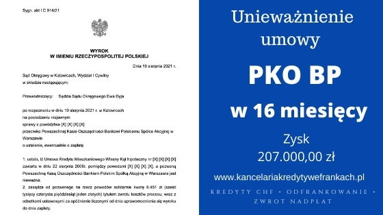 """Unieważnienie kredytu we frankach """"Własny Kąt"""" PKO BP. Wygrana w Katowicach w 16 miesięcy"""