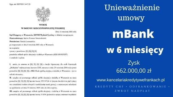 """Unieważnienie kredytu mBank """"Multiplan"""" – Teoria 2 Kondycji. Zysk ok 662.000,00zł. Wygrywamy w WARSZAWIE W 6 MIESIĘCY!"""