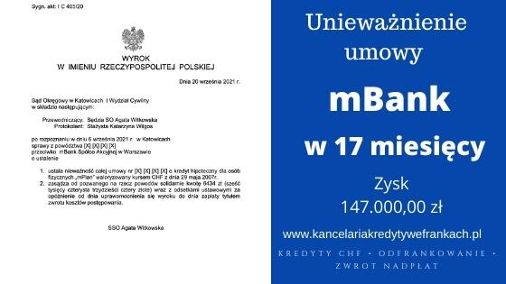 """Unieważnienie kredytu mBank """"mPlan"""". SO w Katowicach znów po stronie naszych Klientów"""