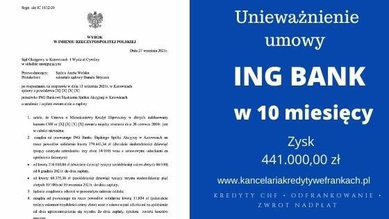Ustalenie nieważności kredytu ING BANK + zapłata bez przedawnienia. Wygrywamy znów na 1 rozprawie. SO Katowice