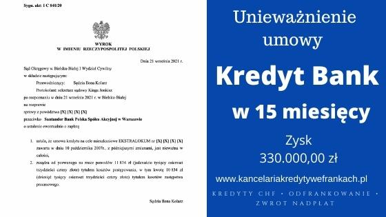 Unieważniamy kolejną umowę frankową w Bielsku-Białej. Kredyt w Santander Bank (d. Kredyt Bank) umowa EKSTRALOKUM